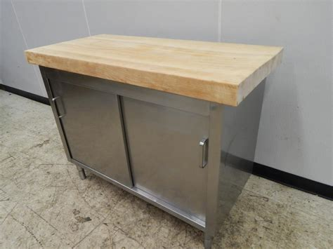 stainless steel butcher block table stainless steel cabinet table butcher block top 50 quot x 24