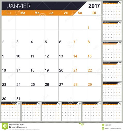 french calendar 2017 stock vector image 65691001