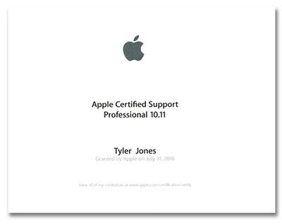tyler jones earns apple certified support designation