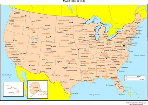 united states map with states and cities united states map