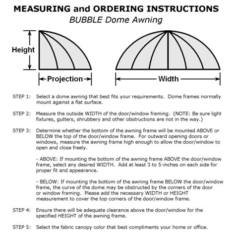 awning installation instructions bubble dome window and door awnings