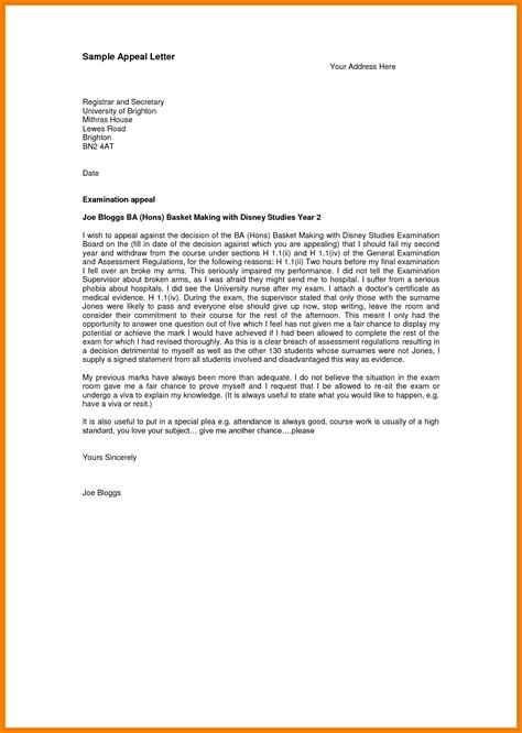Appeal Letter Exles For College Admissions 11 Appeal Letter Exle Reimbursement Letter