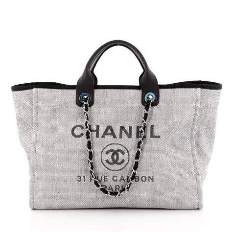 Chanel Deauville 2 buy chanel deauville chain tote canvas large gray 1156101