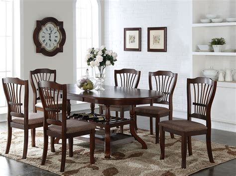 Oval Dining Room Sets Bixby Espresso Oval Extendable Dining Room Set From New Classic Coleman Furniture