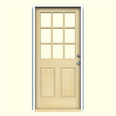 30 X 80 Exterior Door With Window Jeld Wen 32 In X 80 In Fan Lite Unfinished Fir Wood Front Door Slab 5389 0 The Home Depot