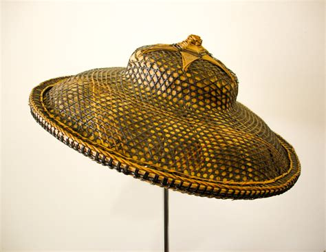 Large Rattan Vase Antique Asian Coolie Hat Vintage Chinese Woven By