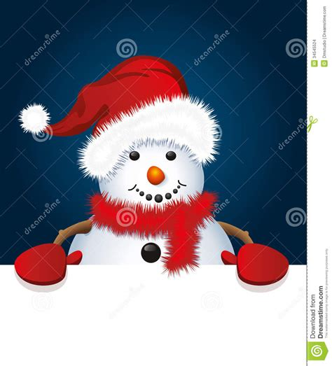 vector christmas snowman with santa hat and gloves stock