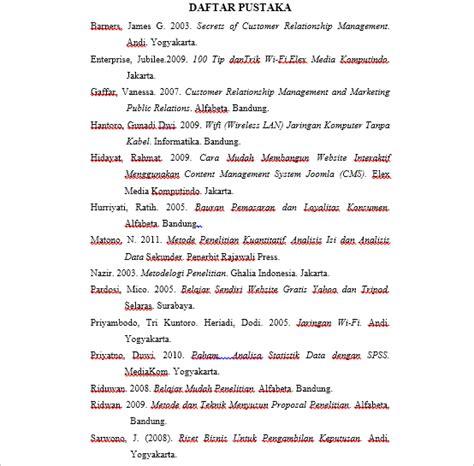 format penulisan daftar pustaka untuk skripsi contoh penulisan daftar pustaka skripsi teknik informatika