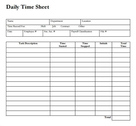 time card template duties performed 12 daily timesheet templates free sle exle format