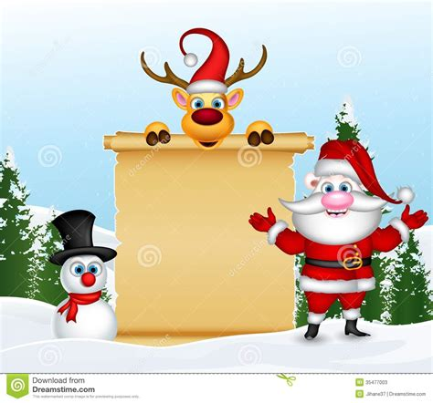 santa claus with reindeer and snowman with blank sign in