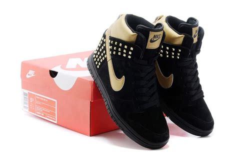 nike high top high heels 2016 new nike dunk sb high top shoes black gold sale