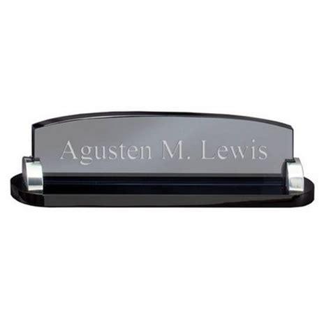 desk name plate holder chrome and glass desk nameplate holder