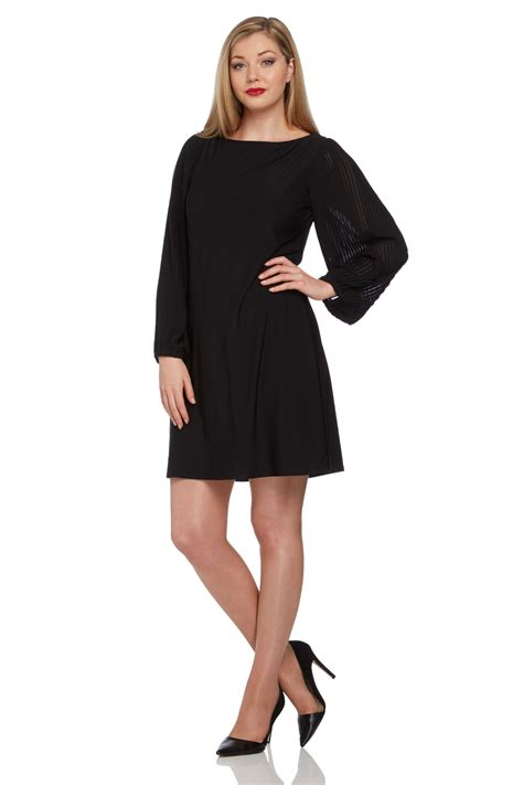 Sleeve Pleated Dress jersey shift dress with pleated sleeves in black