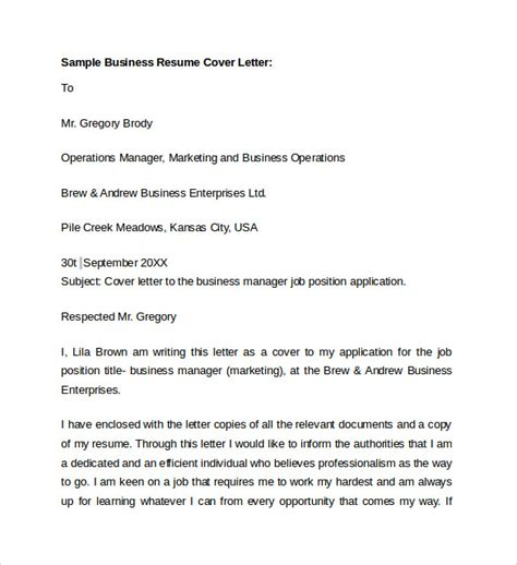 cover letter exles for business business cover letter 8 free sles exles format
