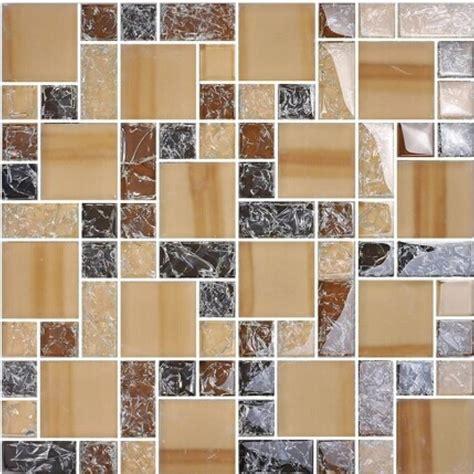 crackle glass backsplash kitchen brown mosaic tile