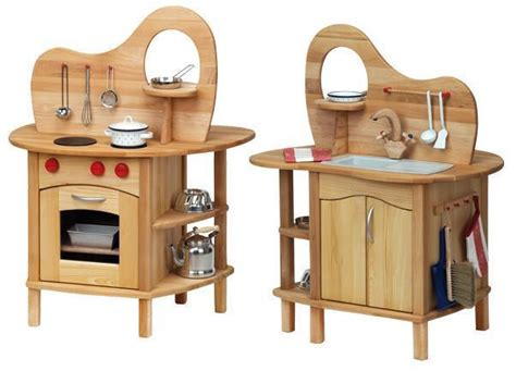 Handmade Wooden Play Kitchen - handcrafted timber play kitchen sided earth toys