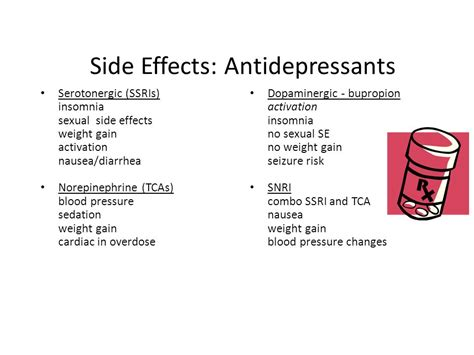 antidepressant side effect pharmacotherapy in psychiatry ppt