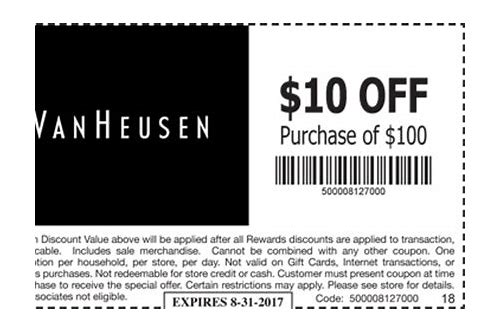 van heusen outlet printable coupons