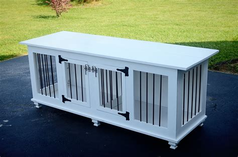 Creative Benches by Custom High End Wooden Double Dog Crate Pine Main