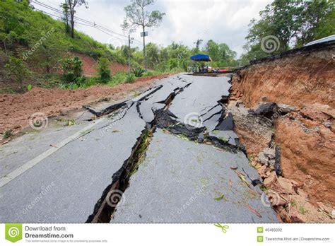 earthquake thailand broken road by an earthquake in chiang rai thailand stock