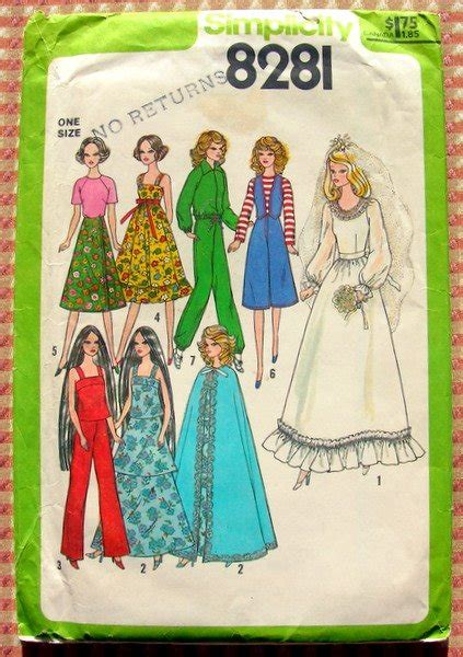 11 1 2 fashion doll patterns 11 1 2 quot fashion doll wardrobe vintage 70s sewing pattern