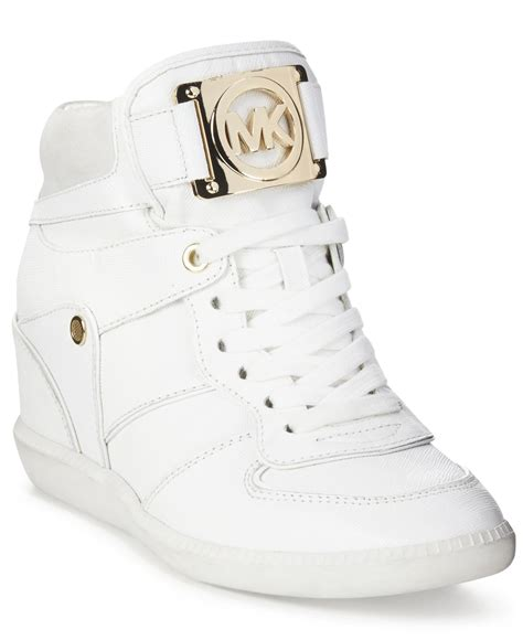 sneaker wedges white lyst michael kors michael nikko lace up high top wedge