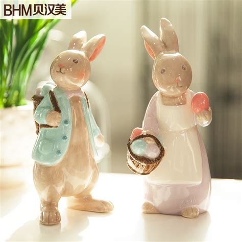 animal figurines home decor family ceramic white rabbit home decor crafts room