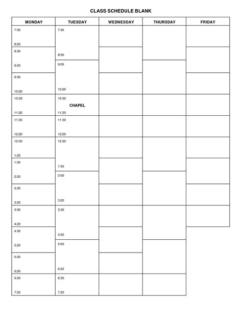blank daily school schedule template blank college schedule template 6 best images of printable