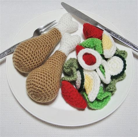 crochet cuisine dinner 17 crochet play food set chicken