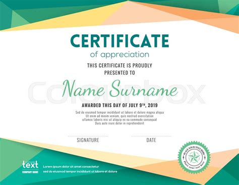 certificate design template cdr modern certificate with green polygonal background design