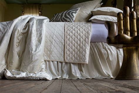 linen quilted coverlet lili alessandra chloe diamond quilted ivory velvet