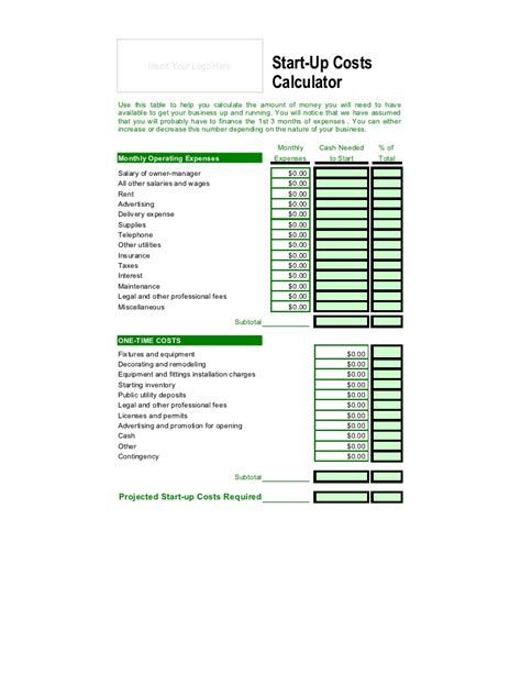 net price calculator template startup cost calculator spreadsheet