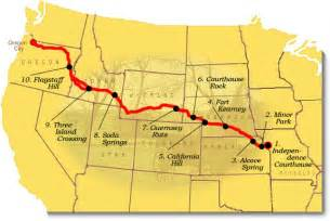 map of the oregon trail with landmarks recommended oregon national historic trail u s