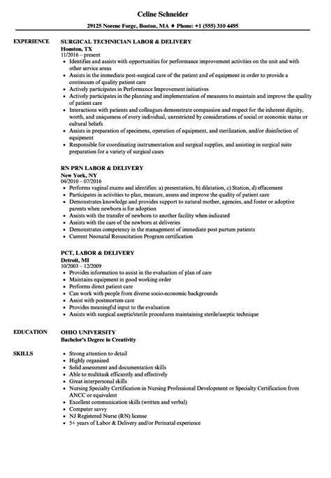 Labor Delivery Resume Sles Velvet Jobs Labor And Delivery Resume Templates