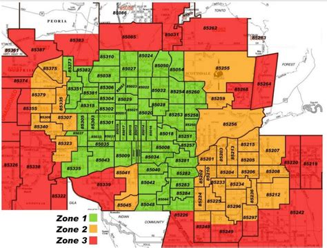 Zip Code Map For Phoenix | phoenix zip code map az agenda