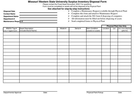 disposal form template 10 best images of asset disposition form template fixed