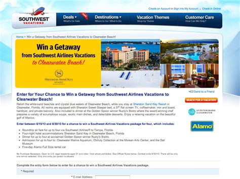 Cash For Gift Cards Clearwater Fl - win a getaway from southwest airlines vacations to clearwater beach