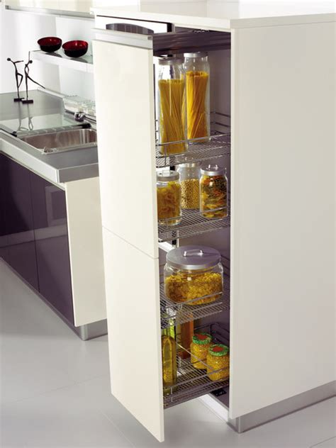 pull out pantry with adjustable metal baskets modern