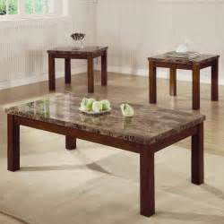 Marble Like Top & Dark Oak Finish Modern 3Pc Coffee Table Set