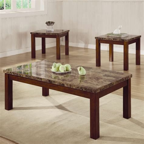 Marble Coffee Table Set Marble Like Top Oak Finish Modern 3pc Coffee Table Set