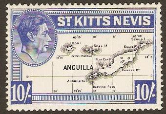 postage st rubber st 1952 in kitts and nevis