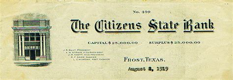 Citizens Bank Letterhead Citizens State Bank