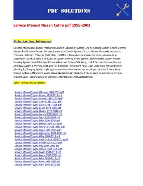 small engine repair manuals free download 2003 nissan murano engine control service manual nissan cefiro pdf 1995 2003
