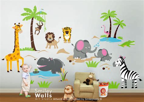 Train Stickers For Walls safari animals wall decal jungle animals wall decal monkey