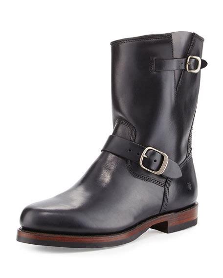 frye leather engineer boot black
