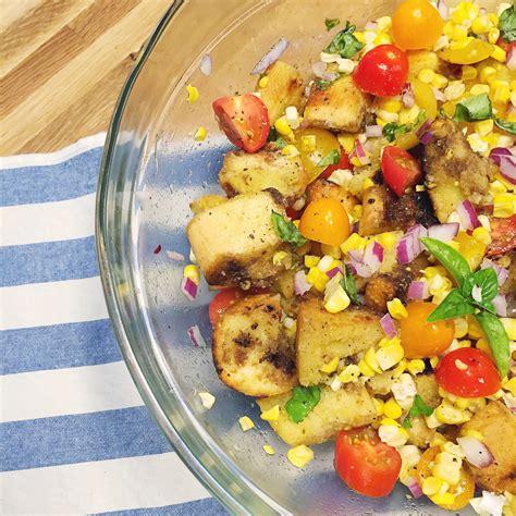 greek panzanella recipe ina garten food network summer corn panzanella salad u with