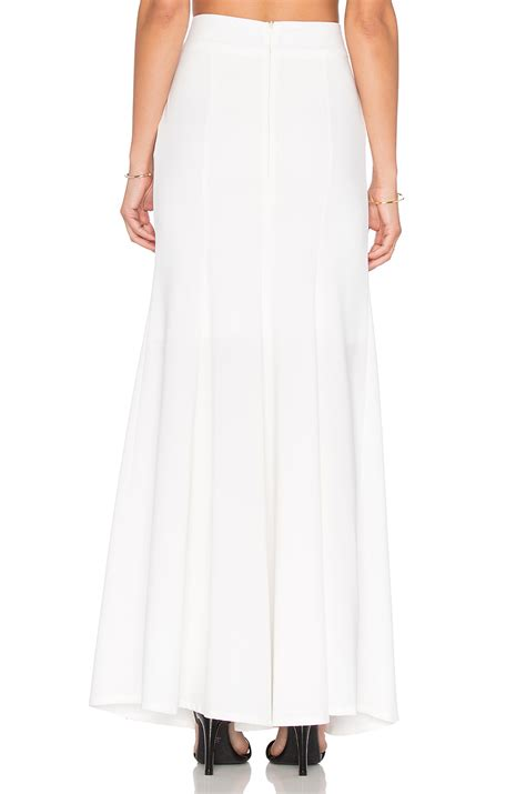 krisa fit flare maxi skirt in white lyst