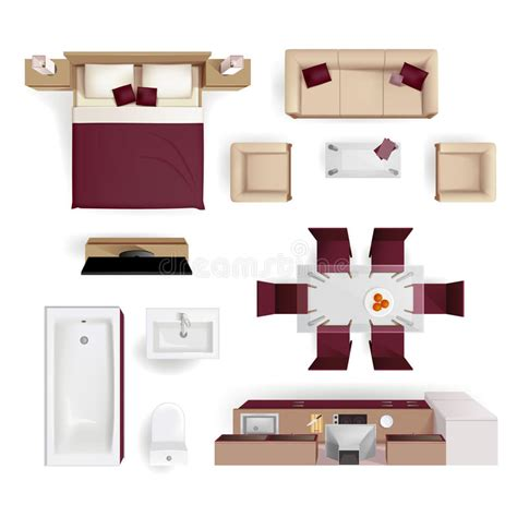 Apartment Living Bedroom Furniture Interior Elements Top View Realistic Image Stock Vector