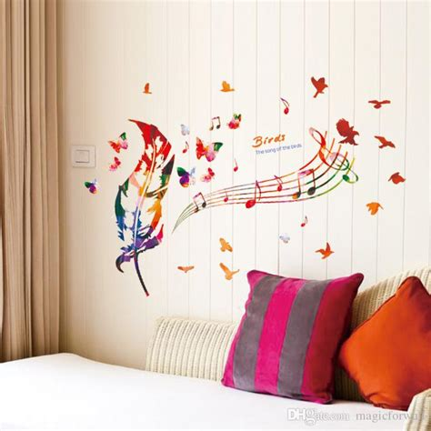 colorful feather musical note butterfly birds wall art