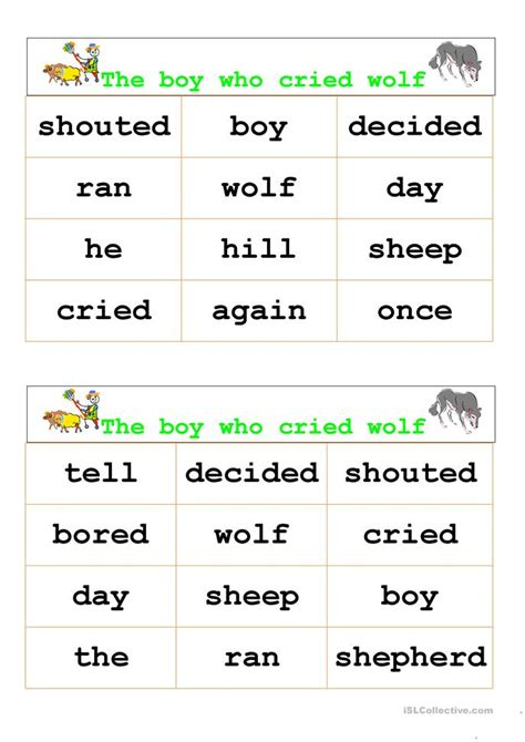 printable version of the boy who cried wolf the boy who cried wolf bingo worksheet free esl